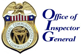 FCC Logo on metal badge with the words Office of Inspector General