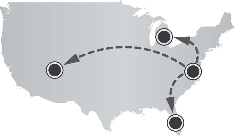 United States map with travel routes depicted as dashed lin