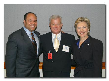 From left, Chairman Powell, Rhode Island E911 Emergency Telephone System Executive Director Raymond LaBelle,  and Senator Clinton.