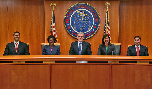 Commissioners Group Photo, November 2013: L to R: Commissioner Ajit Pai, Commissioner Mignon Clyburn, Chairman Tom Wheeler, Commissioner Jessica Rosenworcel and Commissioner Michael O'Rielly