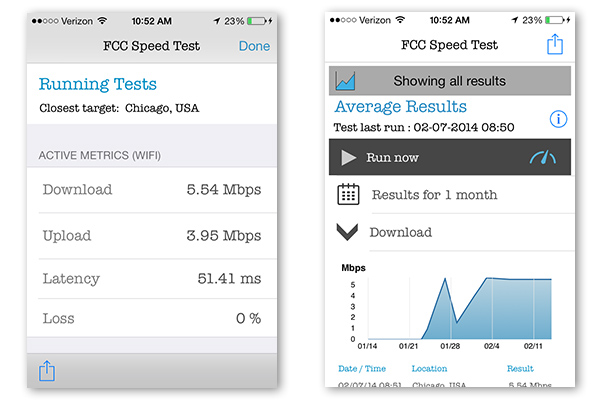 screen captures of the speed test app on an iphone