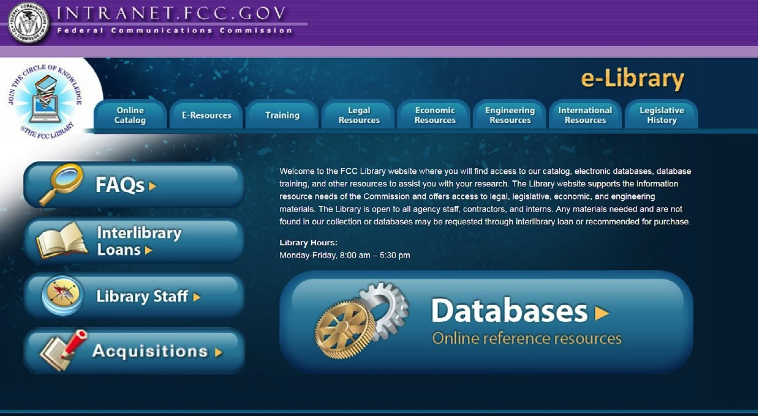 Screenshot of the FCC Library's intranet website
